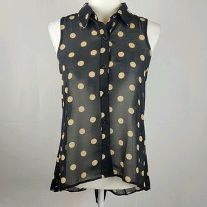 Sans Souci black with tan polka dots top small